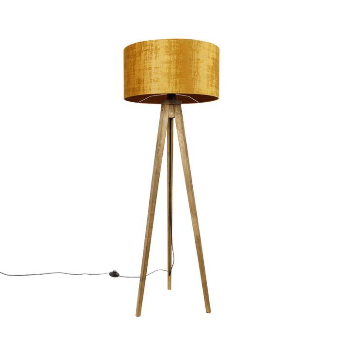 Landelijke-tripod-vintage-hout-met-kap-goud-50-cm---Tripod-Classic