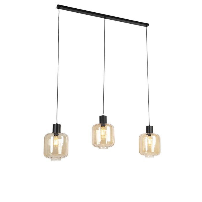 Design-hanglamp-zwart-met-amber-glas-3-lichts-161,5-cm---Qara