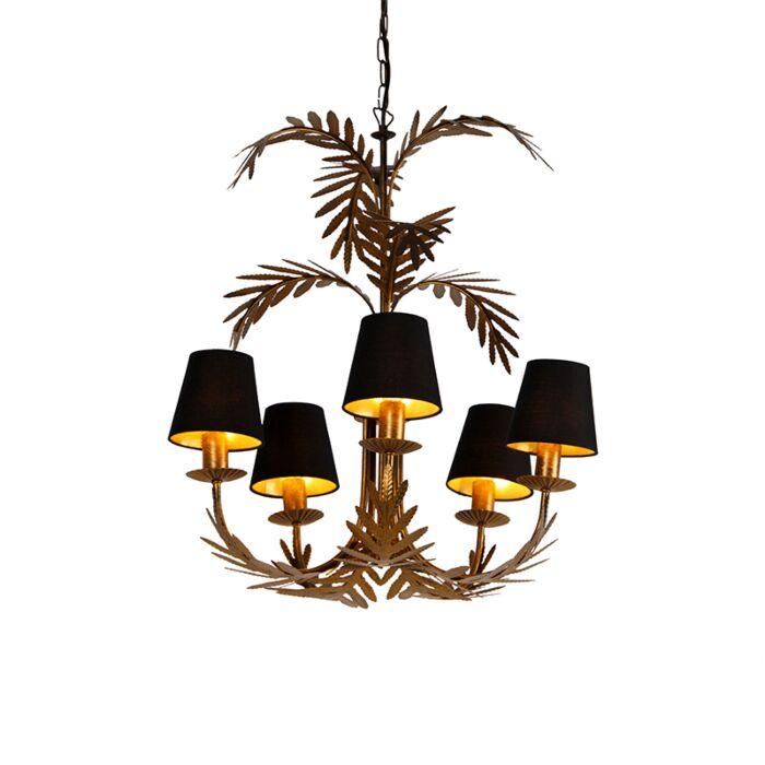 Kroonluchter-goud-met-zwarte-kappen-5-lichts---Botanica