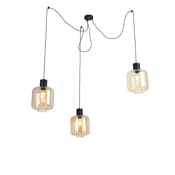 Design-hanglamp-zwart-met-amber-glas-3-lichts-226-cm---Qara