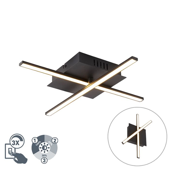 Moderne-plafondlamp-zwart-incl.-LED-3-staps-dimbaar---Cruz