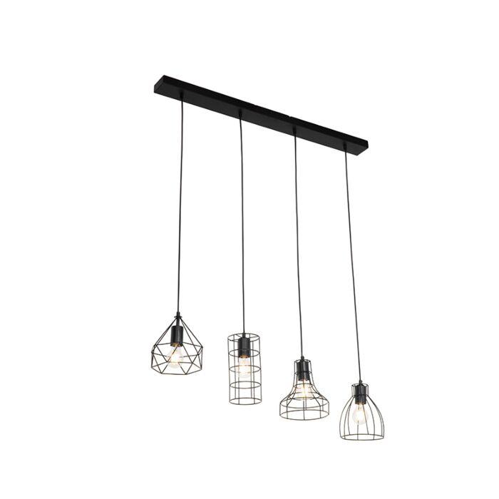 Industriële-hanglamp-zwart-4-lichts---Esva