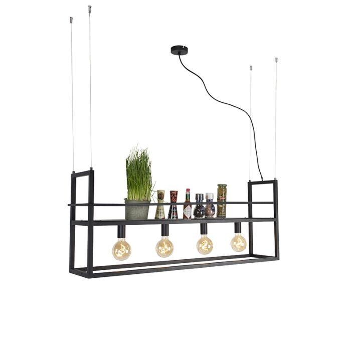 Industriële-hanglamp-zwart-met-rek-large-4-lichts---Cage-Rack