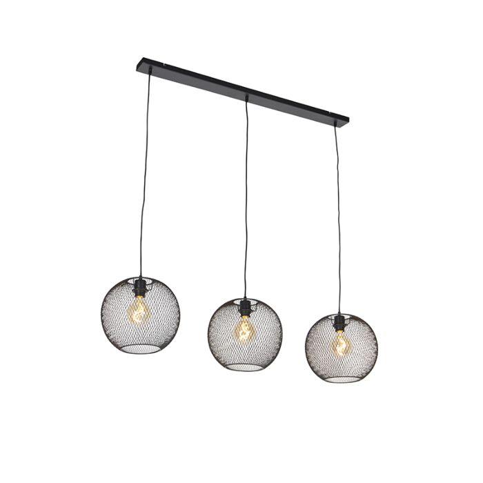 Moderne-hanglamp-zwart-3-lichts---Mesh-Ball