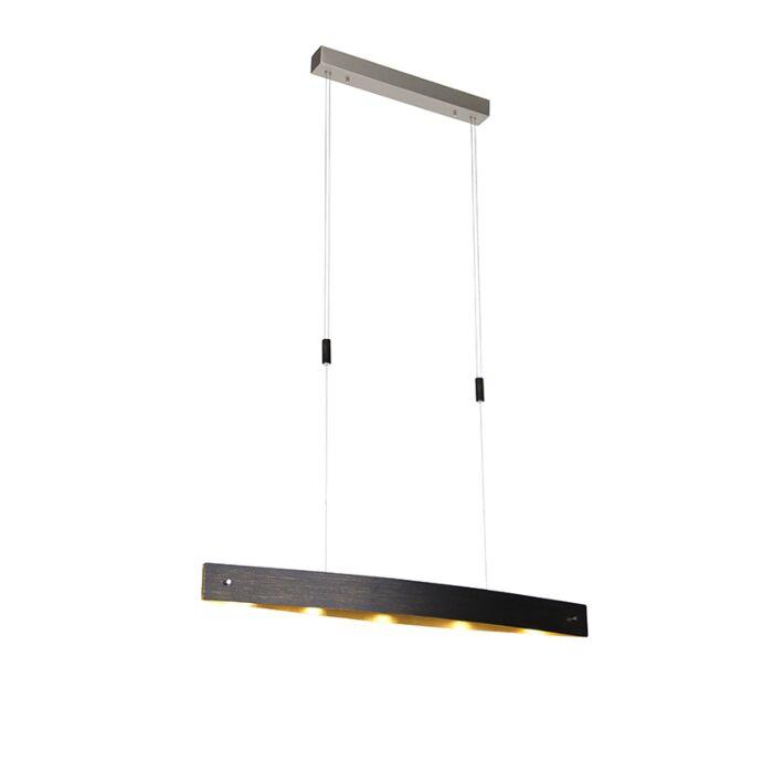 Moderne-hanglamp-zwart-met-goud-incl.-LED-en-touchdimmer---Lio