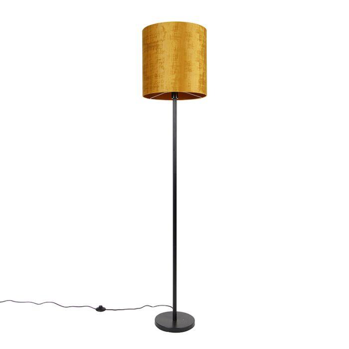 Klassieke-vloerlamp-zwart-kap-goud-40-cm---Simplo
