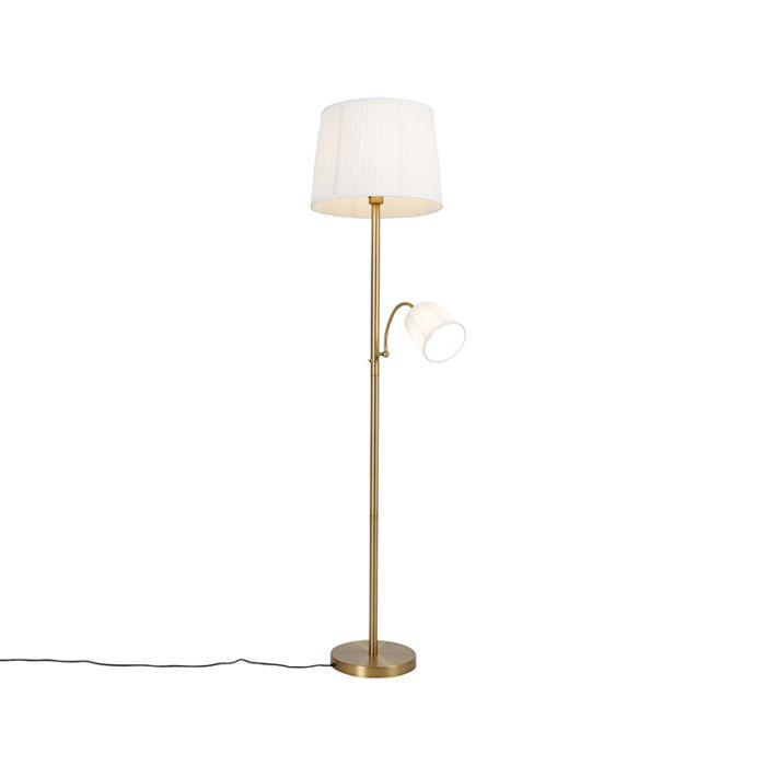 Klassieke-vloerlamp-brons-stoffen-kap-wit-met-leeslamp---Retro
