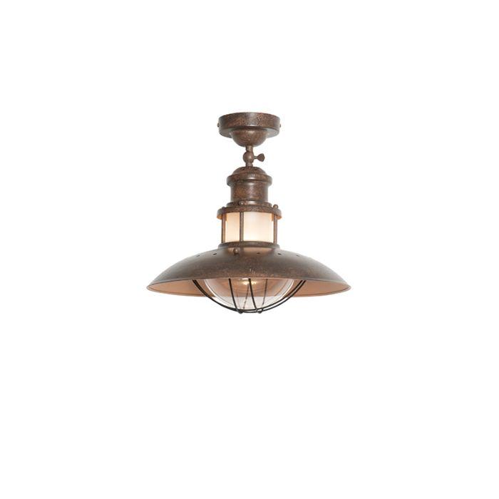 Industriële-ronde-plafondlamp-roestbruin---Louisanne