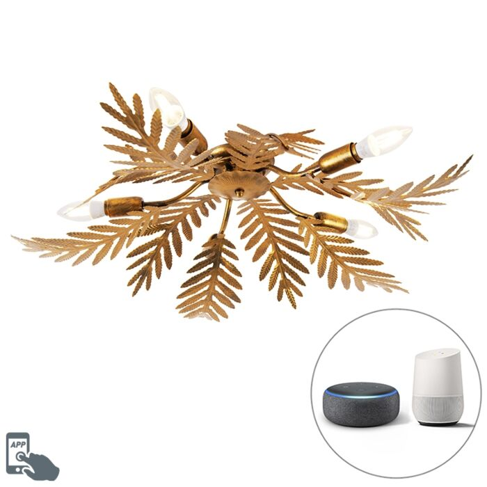 Vintage-Smart-plafondlamp-goud-incl.-5-WiFi-E14---Botanica
