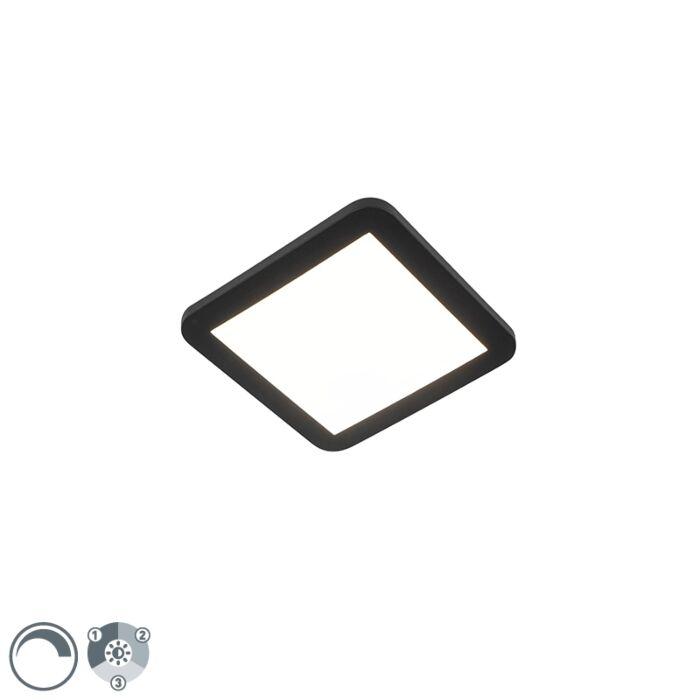 Plafonnière-zwart-22,5-cm-incl.-LED-3-staps-dimbaar-IP44---Steve