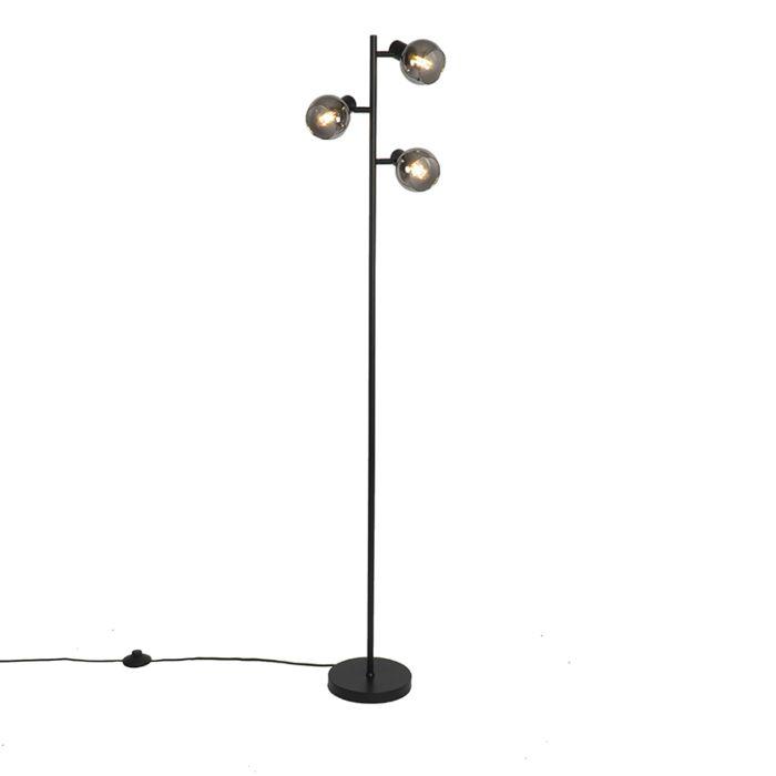 Art-Deco-vloerlamp-zwart-3-lichts-met-smoke-glas---Vidro