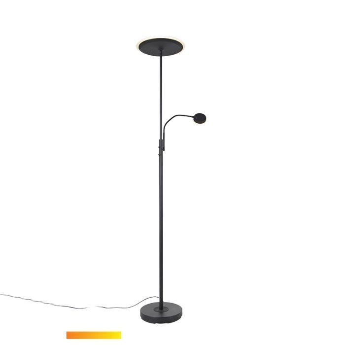 Moderne-vloerlamp-zwart-incl.-LED-met-afstandsbediening-en-leesarm---Strela