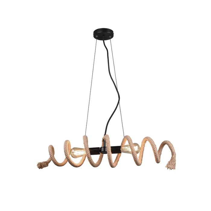 Landelijke-hanglamp-zwart-met-touw-2-lichts---Eveline