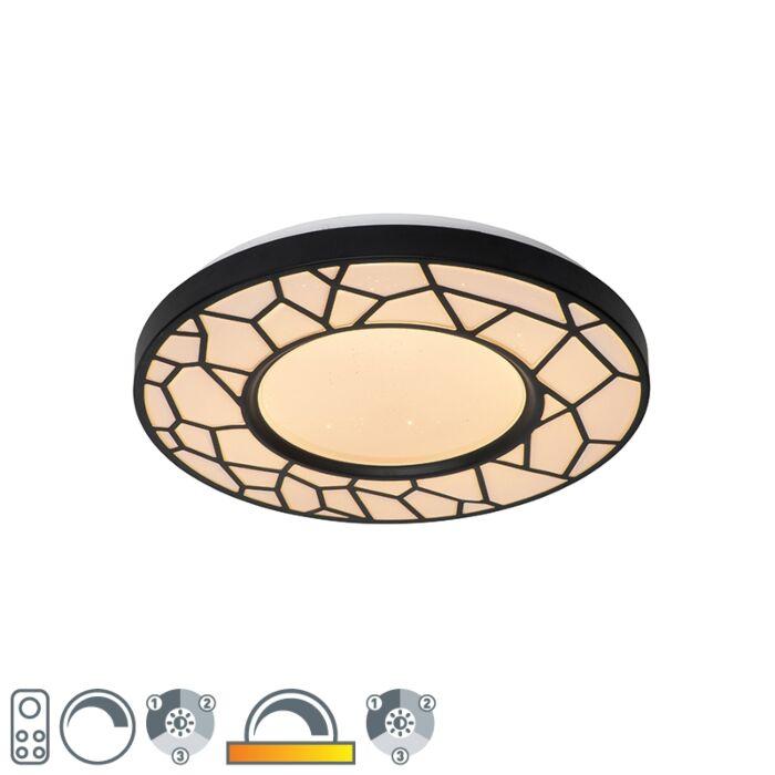 Plafondlamp-zwart-39-cm-incl.-LED-met-afstandsbieding---Luka