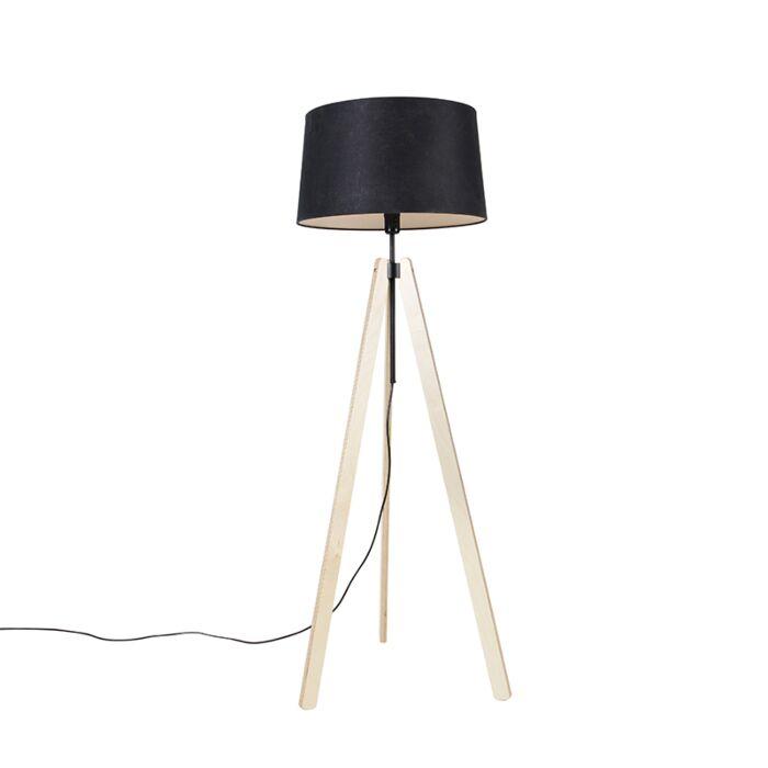 Vloerlamp-tripod-beige-met-linnen-kap-zwart-45-cm---Telu