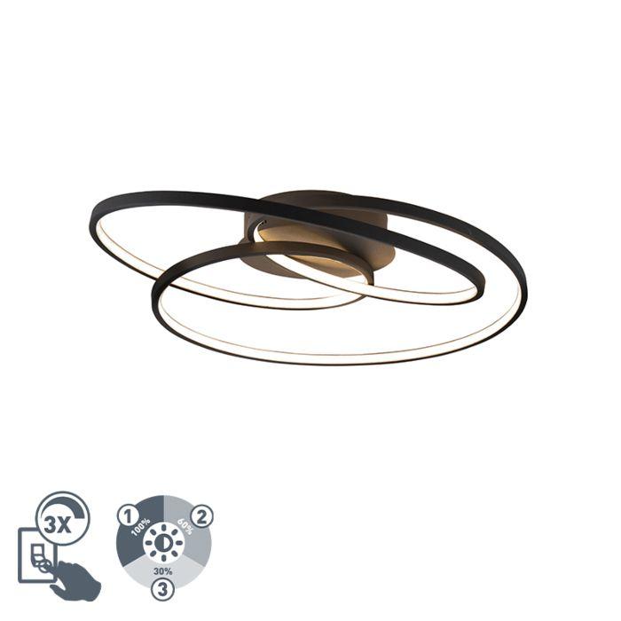 Plafonnière-zwart-60-cm-incl.-LED-3-staps-dimbaar---Rowin