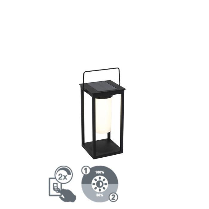 Moderne-buitenlamp-zwart-incl.-LED-en-dimmer-solar---Denlu