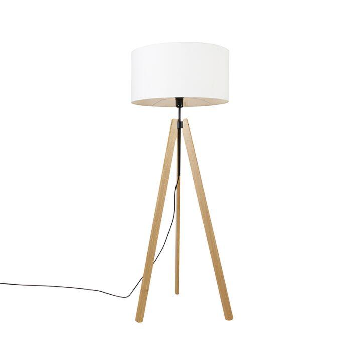Landelijke-vloerlamp-tripod-hout-met-kap-wit-50-cm---Telu