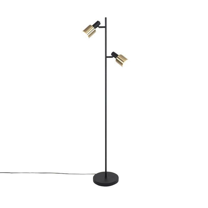 Design-vloerlamp-zwart-met-goud-2-lichts---Lynn