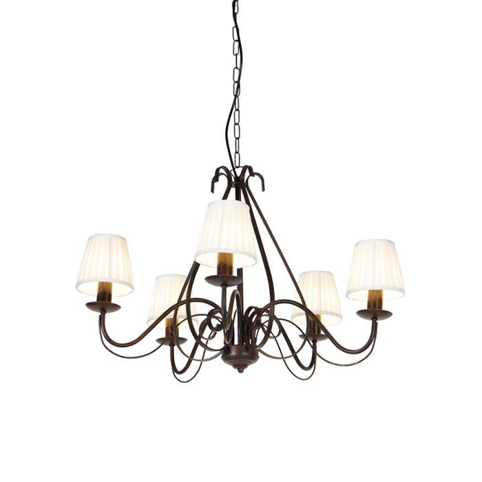 Kroonluchter-bruin-plissé-crème-klemkap-5-lichts---Giuseppe