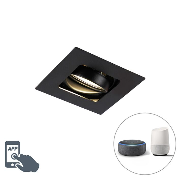 Moderne-Smart-inbouwspot-zwart-incl.-WiFi-GU10---Artemis