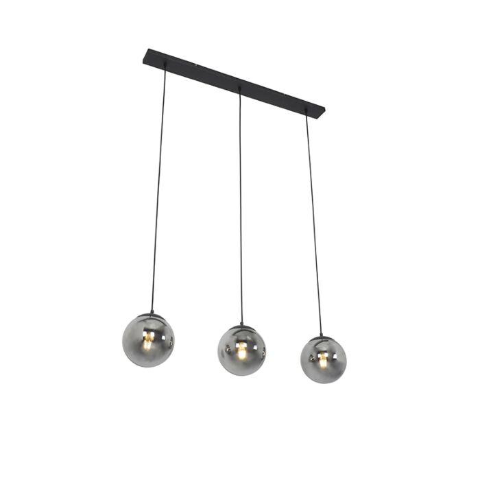 Art-deco-hanglamp-zwart-met-smoke-glas-3-lichts---Pallon