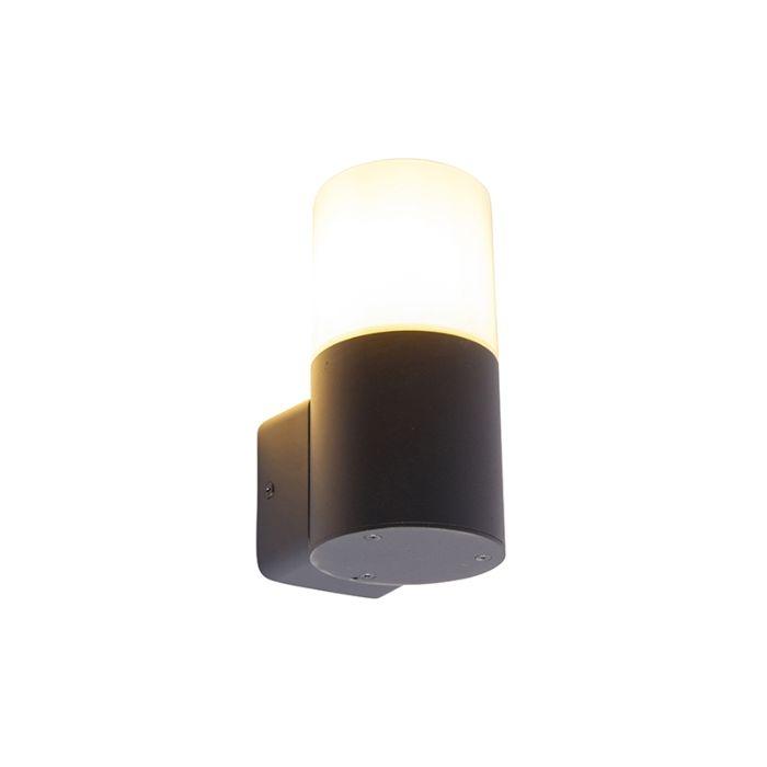 Moderne-buiten-wandlamp-zwart-met-opaal-kap-IP44---Odense