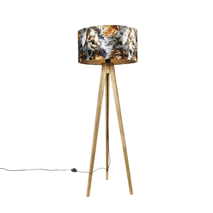 Vintage-vloerlamp-hout-kap-bloem-dessin-50-cm---Tripod-Classic