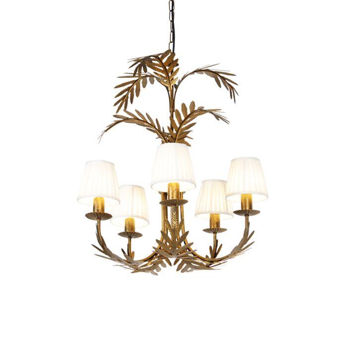 Kroonluchter-goud-met-plissé-klemkap-crème-5-lichts---Botanica