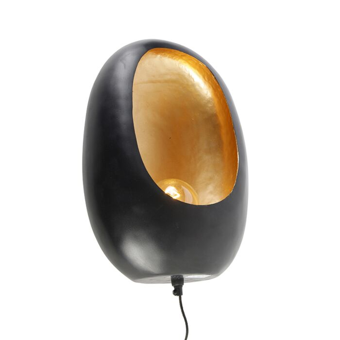 Design-wandlamp-zwart-met-gouden-binnenkant-46-cm---Cova