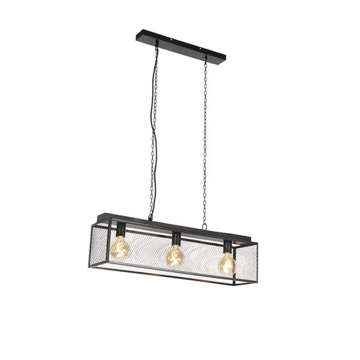 Industriële-hanglamp-zwart-3-lichts---Cage-Robusto