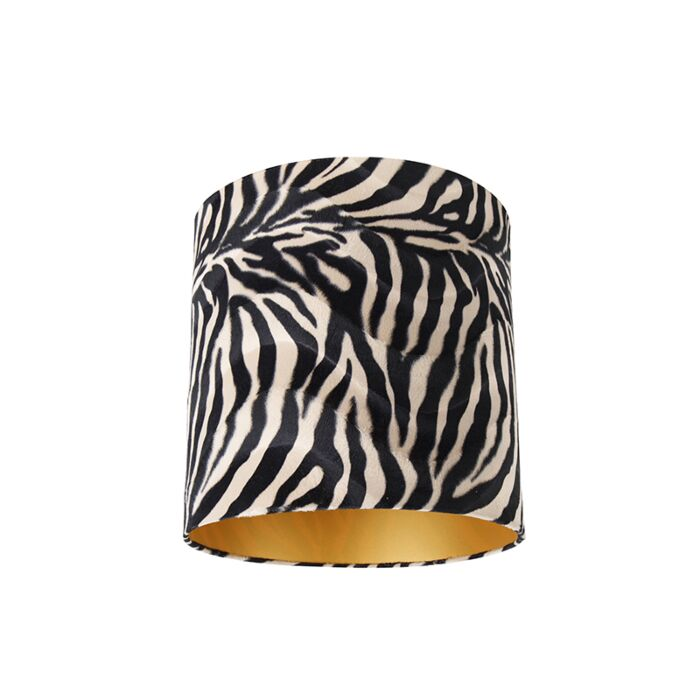 Velours-lampenkap-zebra-dessin-40/40/40-gouden-binnenkant