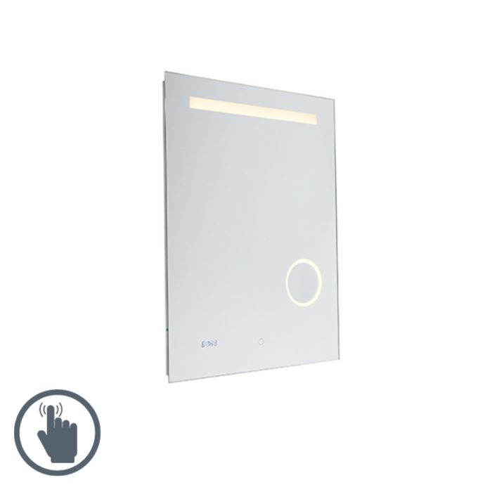 Moderne-badkamerspiegel-60x80-cm-incl.-LED-IP44-met-touch-dimmer-en-klok---Miral