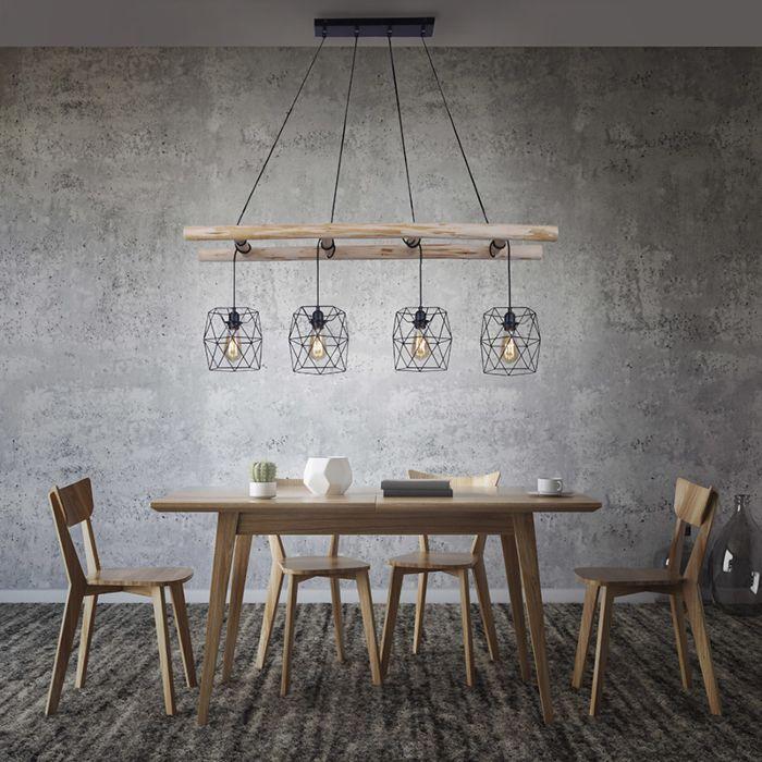Industriële-hanglamp-zwart-met-hout-4-lichts---Mediena