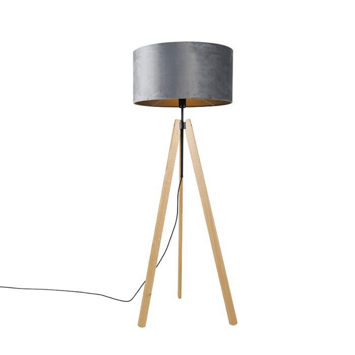 Landelijke-vloerlamp-tripod-hout-met-kap-grijs-50-cm---Telu