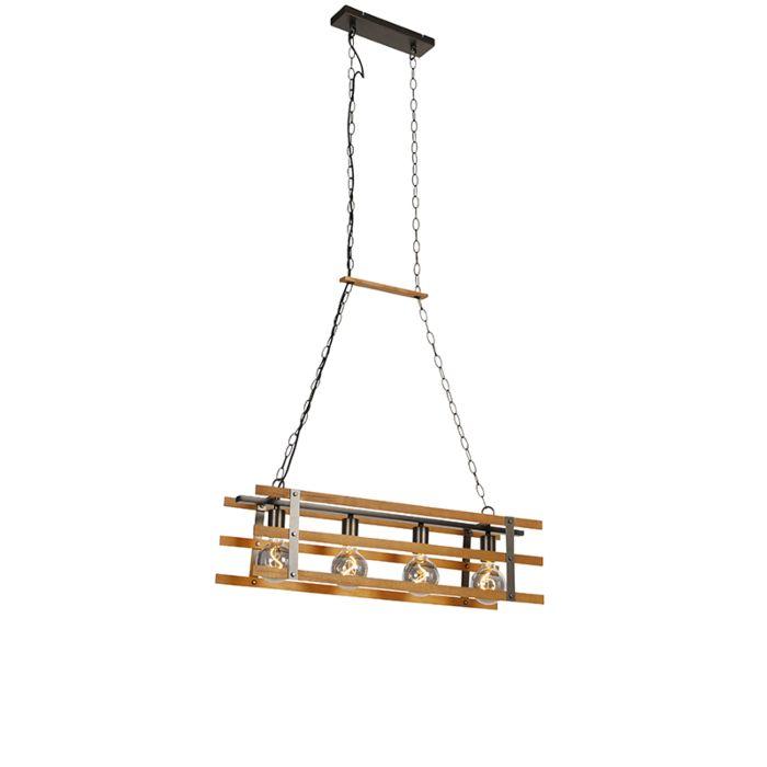 Industriële-hanglamp-zwart-met-hout-80-cm-4-lichts---Paleta-Mai
