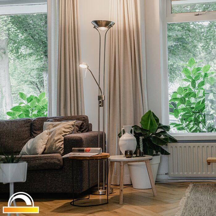Vloerlamp-staal-met-leeslamp-incl.-LED-dimbaar-in-Kelvin---Diva