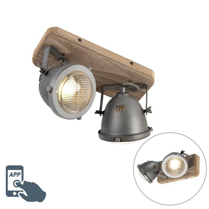 Industriële-smart-spot-grijs-met-hout-incl.-2-WiFi-GU10---Emado
