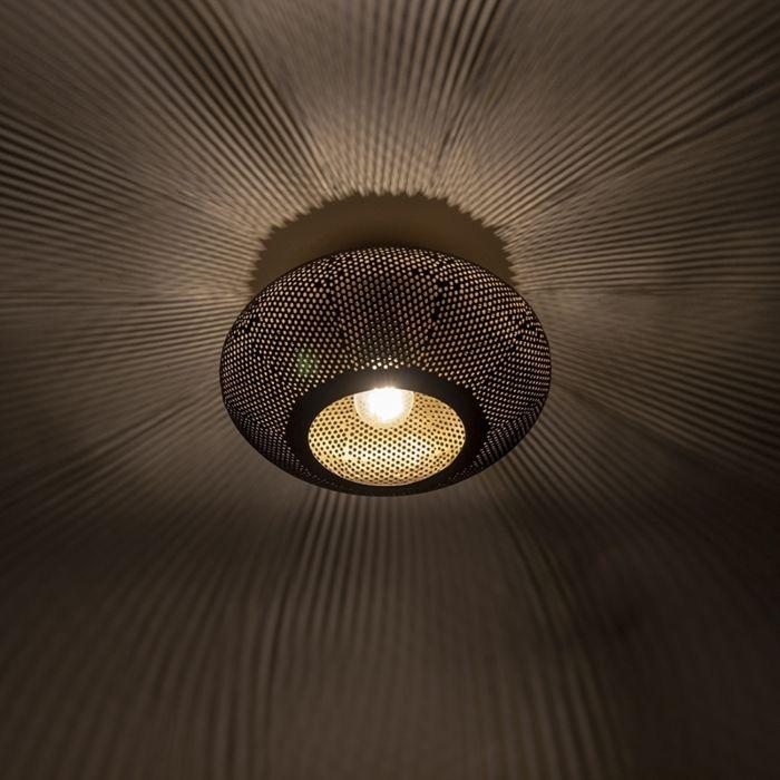 Oosterse-plafondlamp-zwart-met-goud-25-cm---Radiance