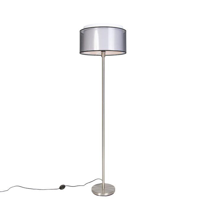 Design-vloerlamp-staal-met-zwart-wit-kap-47-cm---Simplo