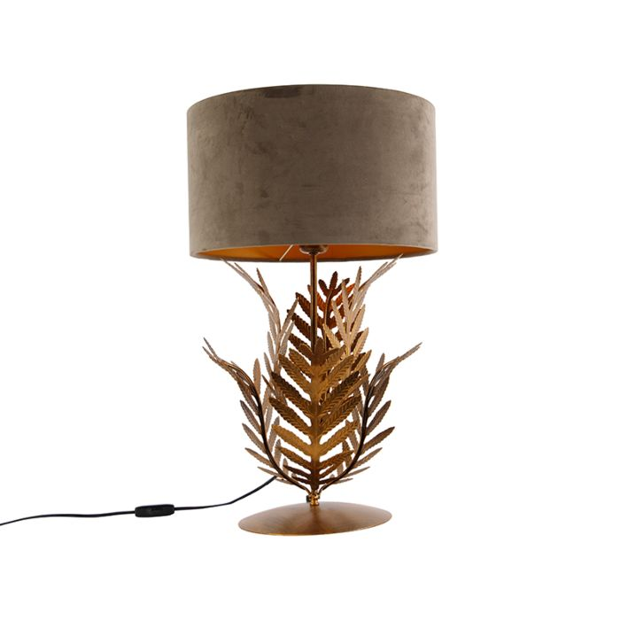 Vintage-tafellamp-goud-met-velours-kap-taupe-35-cm---Botanica