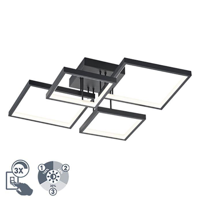 Plafonnière-zwart-4-lichts-incl.-LED-dimbaar---Lejo