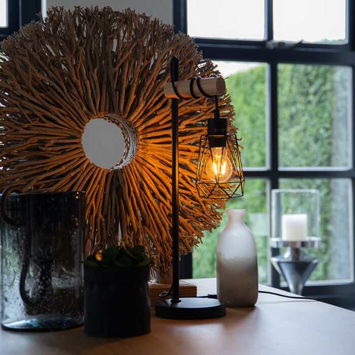Landelijke-tafellamp-zwart-met-hout---Dami-Frame