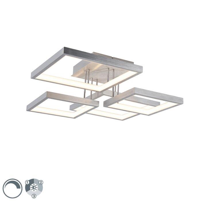 Plafonnière-aluminium-4-lichts-incl.-LED-dimbaar---Lejo