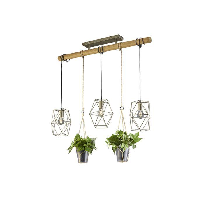 Landelijke-hanglamp-staal-met-hout-3-lichts---Sarah