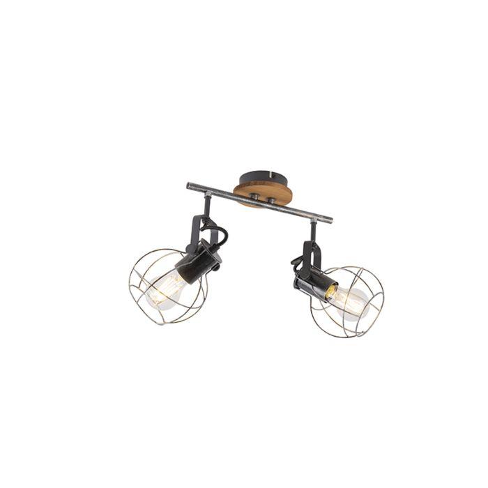 Industriële-plafondspot-staal-met-hout-36-cm-2-lichts---Torce