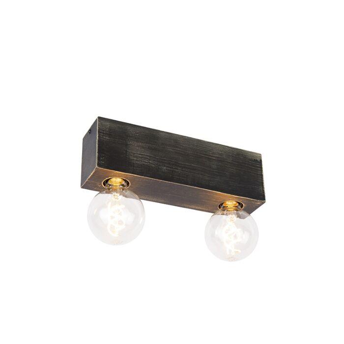 Landelijke-plafondspot-zwart-hout-2-lichts---Bloc