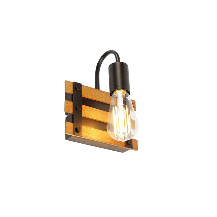 Industriële-wandlamp-zwart-met-hout---Paleta-Mai