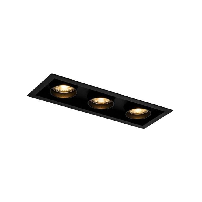 Moderne-inbouwspot-zwart-verstelbaar-3-lichts---Roof
