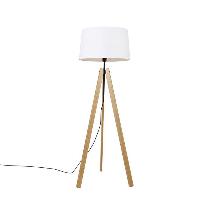 Moderne-vloerlamp-hout-linnen-kap-wit-45-cm-tripod---Telu